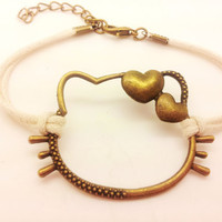 Antique Bronze Hello Kitty White Rope Bracelet women ropes bracelet 1486A