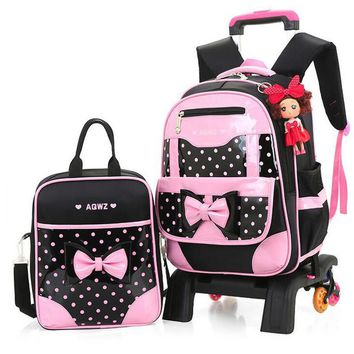 Hot Sale 2017 New Brand Girls Wheeled Backpack Set Cute Bow Children Trolley School Bag Set Dot Pattern Waterproof Kid Book Bag