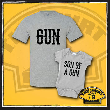 Matching Father and Son t-shirt set - New Baby - Father And Son Matching Shirts - Clothes - Bodysuit - Father's Day - Gun and Son Of A Gun