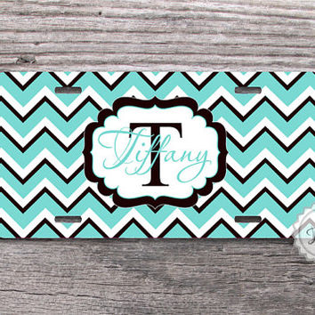 Front license plate - Light blue and black chevron monogram , custom car tags , metal license plate - 066