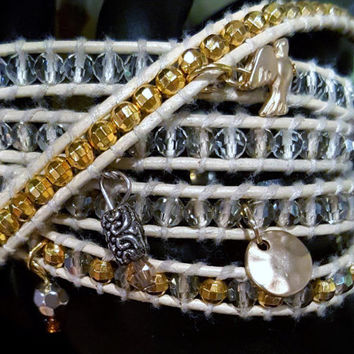 White Leather 5 wrap crystal  beaded anklet or bracelet silver  and gold charms and tiny gold  beading .