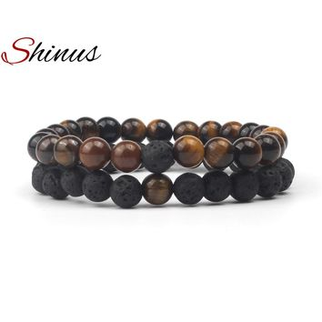 Couples Bracelets with Black Volcanic Rock & Tiger Eye Natural Stone Beads