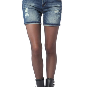 Q2 Denim Shorts With Rips