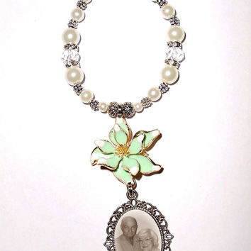 Wedding Bouquet Memorial Photo Charm Mint Green Gold Trim Flower Crystal Gems Pearls Tibetan Beads - Free SHIPPING