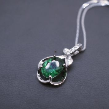 Green Emerald Cut Emarald Necklace Sterling Silver Flower Of life
