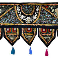 "38x14"" Decorative window valance door curtain wndow curtain topper home decor valance vintage runner Indian patchwork tapestry wall hanging"