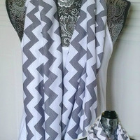 Womens Gray Chevron Infinity Scarf , Circle Scarf, Jersey Knit Scarf , Trendy Fashion Scarves