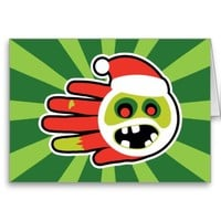 Christmas and Holiday Zombie Santa no cookies Greeting Cards