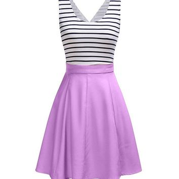 Streetstyle  Casual Cutout Color Block Striped Lovely Plus Size Flared Dress