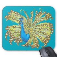 Peacock Feathers Pen and Ink Mouse Pad