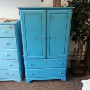 Painted Armoire, Chalk Painted and Distressed Armoire, Blue Armoire, Blue Wardrobe, Shabby Chic Wardrobe, Shabby Chic Armoire