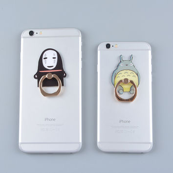 Studio Ghibli TOTORO Kaonashi Luffy Figure Metal Finger Ring Mobile Phone Smartphone Stand holder for iphone