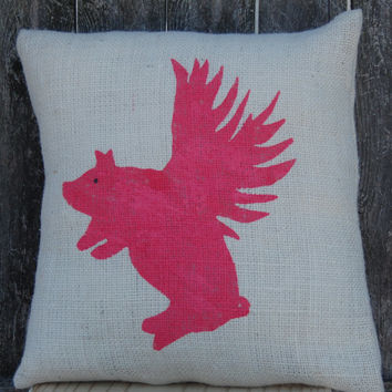 Flying Pig Burlap Pillow,Pig Pillow, Farmhouse Chic Pillow,Outdoor Pillow,Flying Pig Decor,Rustic Decor,Rustic Chic,Accent Pillow,Decorative