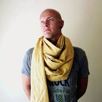 EXTRA LONG mens scarf in mustard brushed cotton by EcoShag on Etsy
