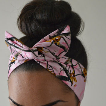 Pink Real Tree Camo Dolly Bow, Camoflauge headband
