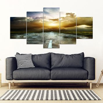 The Road Less Traveled Framed Canvas Wall Art Highway Sunset