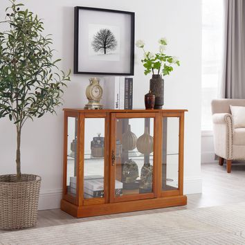 Circlelink Curio Cabinets with Mirrored Back Wall and Glass on Three Side