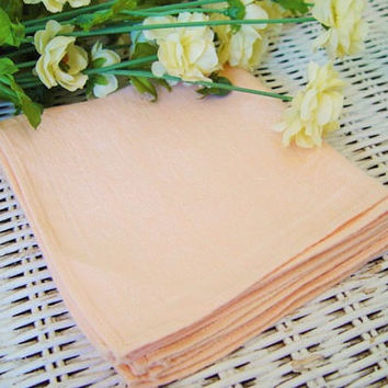 Vintage 1940s Peach Damask Napkins, Set of Four, Made in Occupied Japan.