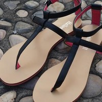 Black & Pink Flat Sandals Free Shipping