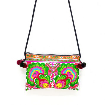 Thai Hill Tribe Bag Pom Pom Hmong Embroidered Ethnic Purse Woven Bag Hippie Bag Clutch Bag Sling Crossbody Bag: Green