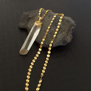 "ON SALE, 30"", Raw Crystal Quartz Point Necklace, Gold Filled Sequin Chain, Long Pendant Necklace, Raw Crystal, Raw Quartz, Long Gold Chain"
