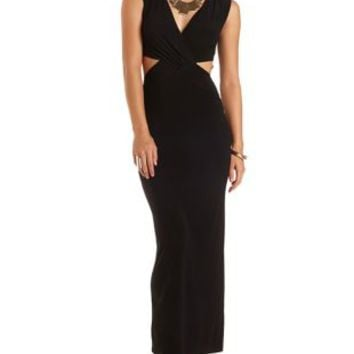 Surplice Cut-Out Maxi Dress by Charlotte Russe - Black