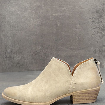 Stands Apart Stone Grey Nubuck Ankle Booties