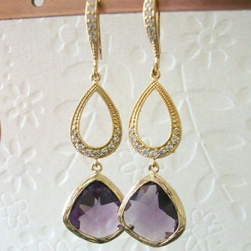 Dangle earrings Amethyst drop Bridesmaids earrings on gorgeous cz crystal vermeil gold tear drop Chandelier earrings