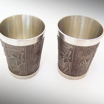 Vintage Mullingar Wine Beaker Pewter Cups Bealin Design Celtic Knot