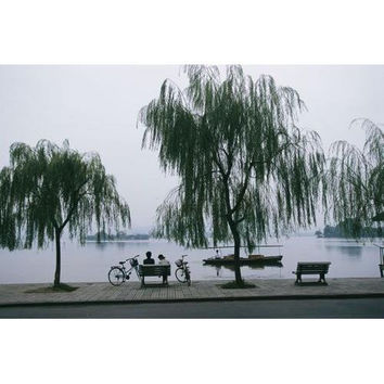 A boat passes by bicyclists on a bench under willow trees by a lake