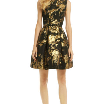 Theia Gold Stroke Dress
