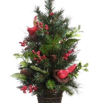"""26"""" Potted Pine Cone Cardinal and Berry Pine Artificial Christmas Tree - Unlit"""