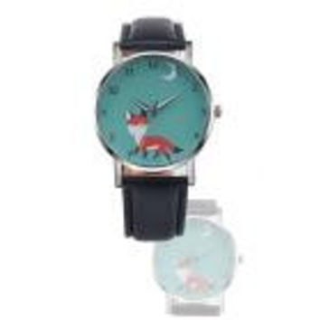 Watch Women Cartoon Fox Retro Design Dress Clock PU Leather Band Analog Quartz Relogio Feminino CF