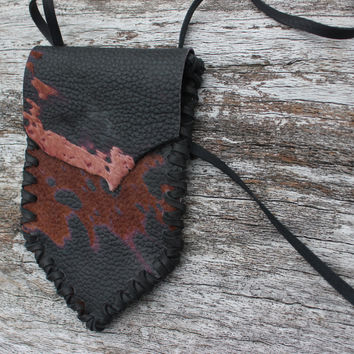 Black and Brown Goat Leather with Fur Medicine Bag, Hand Stitched with Deer Leather, Simple Necklace Pouch, Spiritual Healing