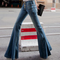 2016 new high waist jeans breasted female flared trousers wide leg pants Slim tide casual denim pants plus size