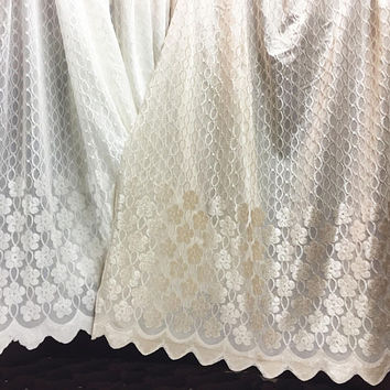 Sheer Fabric - Polyester Patterned Sheer Panel - White or Champagne Sheer  - Decorative Shaped Hem  - Singed Flower Fabric - P21 - 1 Panel