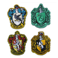 Embroidery Patch HARRY POTTER Hogwarts School Badge Embroidered Patches Military Tactical Armband Hook & Loop Cap Bag Badges