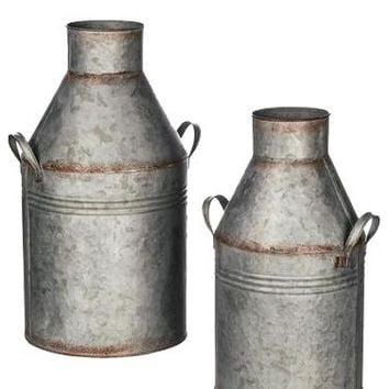 "Set of 2 Galvanized Metal Milk Can Containers - 13.75-17"" Tall x 6.5-8.75"" Wide"