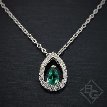 Ben Garelick Pear Shaped Emerald Halo Diamond Pendant