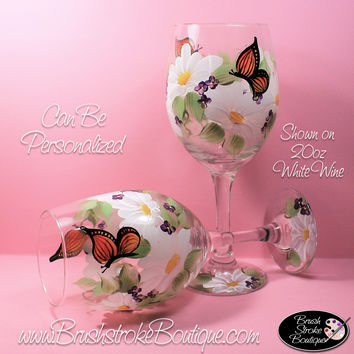 Hand Painted Wine Glass - Butterfly Garden - Original Designs by Cathy Kraemer