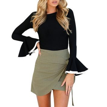 Spring Elegant Ladies Ruffles Frill Blouse Women Sexy Slim Autumn Tops Women's Flare Long Sleeve Casual Shirts Solid Cropped #LH