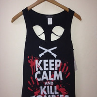 Keep Calm And Kill Zombies Tank With Open Skull Cut Design On Back