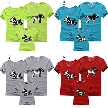 12 Colors Zebra family couples T-Shirt paternity V-neck Custom Hand Screen Printed Tri-Blend Short Sleeve Tshirt