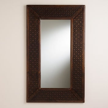 Espresso Fretwork Rhita Mirror - World Market