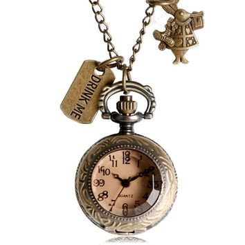 Retro Bronze Drink Me Rabbit Pocket Watch with Chain Necklace Pendant Alice Walk in Wonderland Gift For Alice Fans