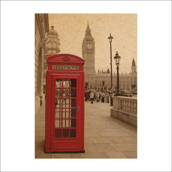 Vintage Big Ben phone booth retro paper posters wall stickers Home decor Wall decal London street mural art