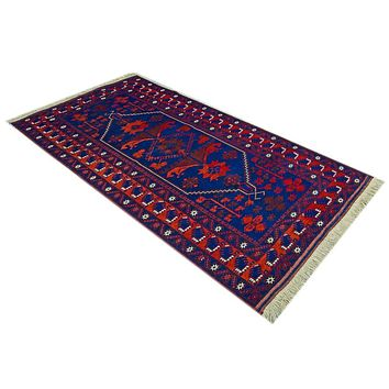 Oriental Yagchibider Turkish Tribal Wool Rug, Blue/Orange