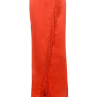 Clothing : Skirts : 'Kartiki' Orange Fringe Wrap Maxi Skirt
