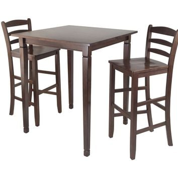 Kingsgate High/Pub Dining Table with High Chair 3pc By Winsome Woods