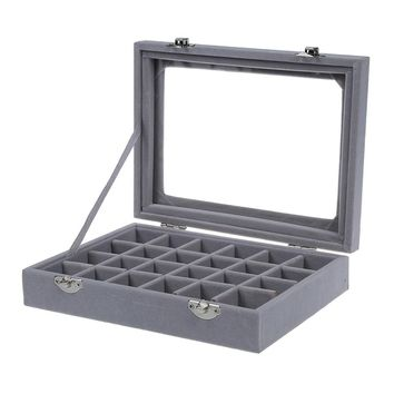 24 grid Display Box Jewelry Storage Glass Bracelet Watch pillow Buckle Grey